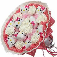 Букет из мягких игрушек Котики 9 в розовом