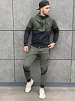 Спортивный костюм Reebok мужской осенний | весенний | демисезонный Кофта + Штаны Рибок черно-хаки