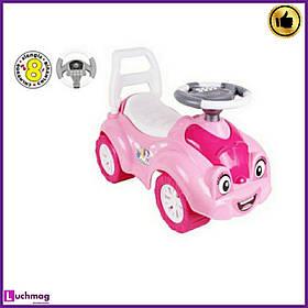 Дитяча рожева машинка - толокар (машинка-каталка) з електронним кермом, звуком