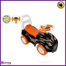 Дитяча помаранчева машинка - толокар (машинка-каталка) з електронним кермом, звуком