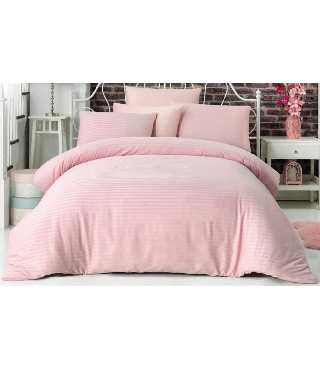 Комплект постельного белья La Rita Basic Евро сатин страйп розовый арт.ts-02137