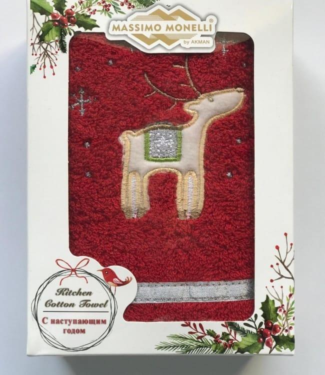 Полотенце Massimo Monelli Олень 30*50 см махровое в коробке новогоднее арт.ts-01720