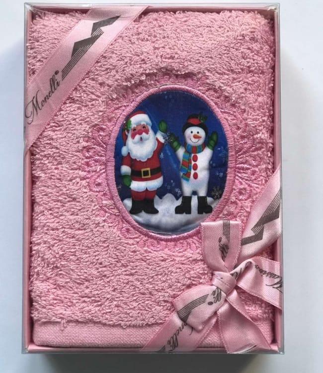 Полотенце Massimo Monelli Санта и снеговик 30*50 см махровое в коробке новогоднее арт.ts-01721