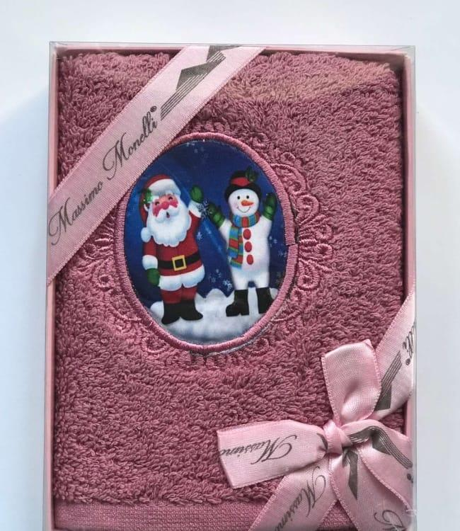 Полотенце Massimo Monelli Санта и снеговик 30*50 см махровое в коробке новогоднее арт.ts-01722