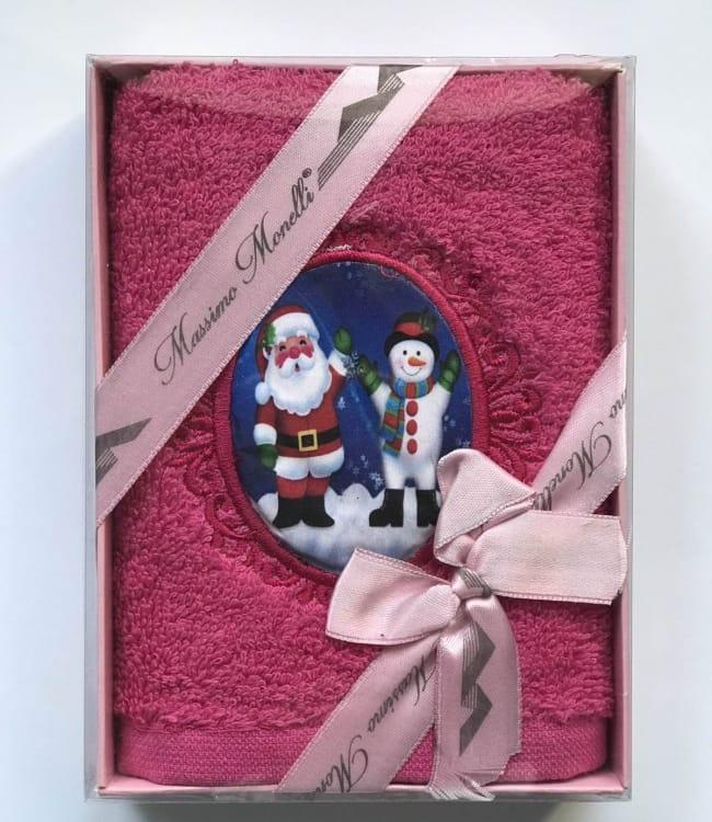 Полотенце Massimo Monelli Санта и снеговик 30*50 см махровое в коробке новогоднее арт.ts-01723