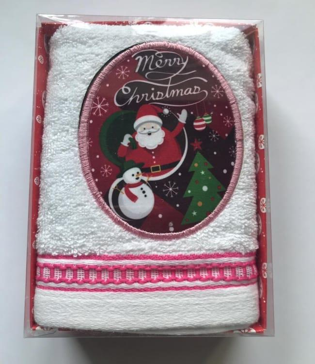 Полотенце Massimo Monelli Санта, снеговик и елка 40*60 см махровое в коробке новогоднее арт.ts-01741