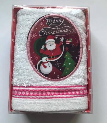 Рушник Massimo Monelli Санта, сніговик і ялинка 40*60 см махровий в коробці новорічне арт.ts-01741, фото 2