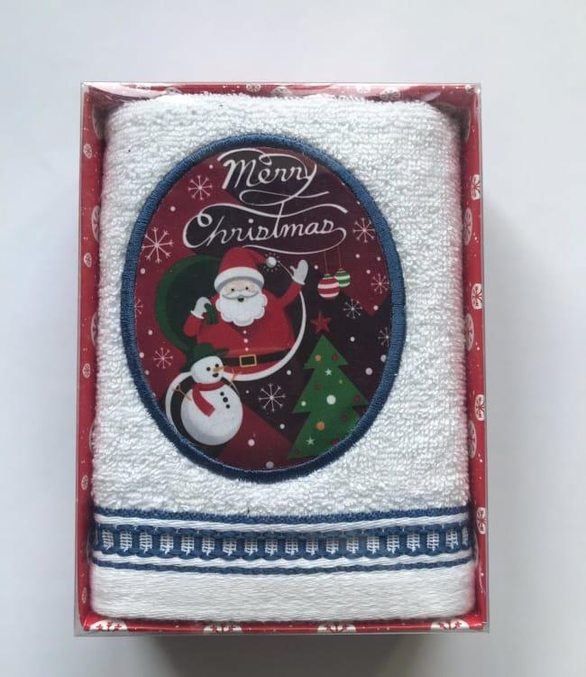 Полотенце Massimo Monelli Санта, снеговик и елка 40*60 см махровое в коробке новогоднее арт.ts-01742