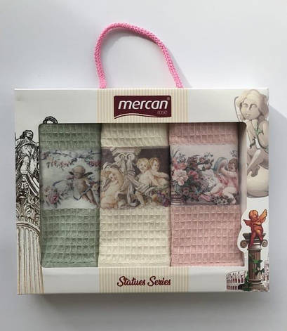 Набор полотенец для кухни Mercan 3D Statues Series 40*60 см вафельные в коробке 3шт арт.ts-01825, фото 2