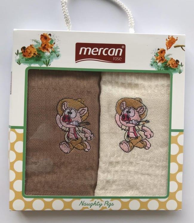 Набір рушників для кухні Mercan Naughty Pigs 40*60 см вафельні в коробці 2шт арт.ts-6001424