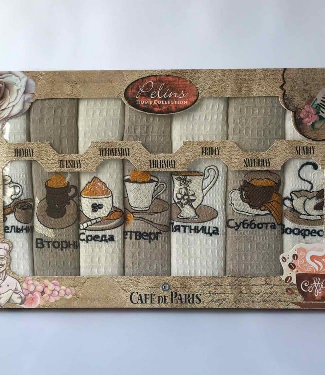Набор полотенец для кухни Pelins Cofe de Paris V2 40*60 см вафельные в коробке 7шт арт.ts-01818