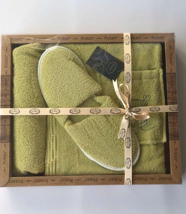Набір для сауни Purry Діжка махровий жіночий 3 предмета салатовий арт.ts-01829