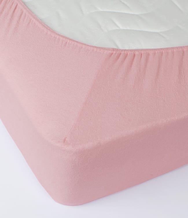 Простынь Rosella Basic Light 160*200*25см махровая на резинке розовая арт.ts-00014