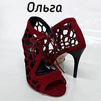"""Туфли женские для Кизомбы """"Ольга"""" красная замша"""