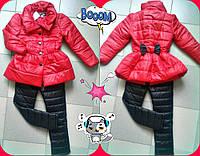 Детский теплый костюм на синтепоне для девочки плащик+брюки / коралл с черным