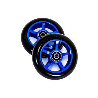 Колеса для трюковых самокатов 100мм (82А) ABEC-7 алюминиевые спицы Blue