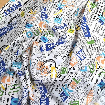 Ткань штапель принт газета, фото 2