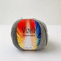 Пряжа Vizell Rainbow Angora (Рэинбов Ангора) Полушерсть серый № 01