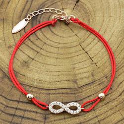 Браслет Xuping красная нить 41806 длина 17+4 см ширина 6 мм вес 2.1 г белые фианиты позолота РО