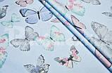 """Комплект постільної білизни з ранфорсу ТМ """"Ловець снів"""", Метелики м'ята, фото 2"""