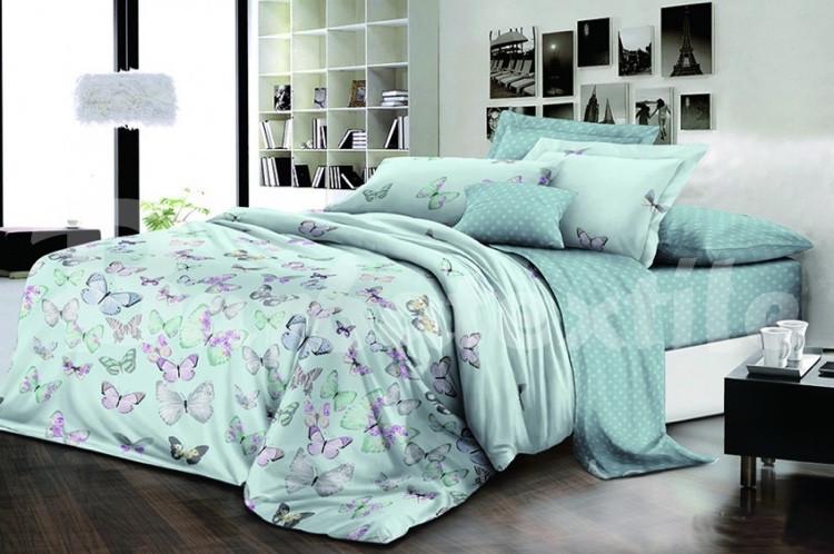 """Комплект постельного белья из ранфорса ТМ """"Ловец снов"""", Бабочки мята"""
