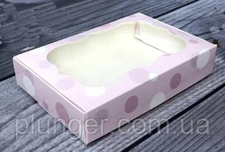 Коробка для печива, пряників, з вікном, 10 см х 15 см х 3 см, мілований картон Нежность