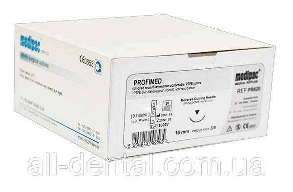 Хірургічний шовний матеріал, нитка (4.0 мм) + ріжуча голка (1 шт./16 мм), Medipac
