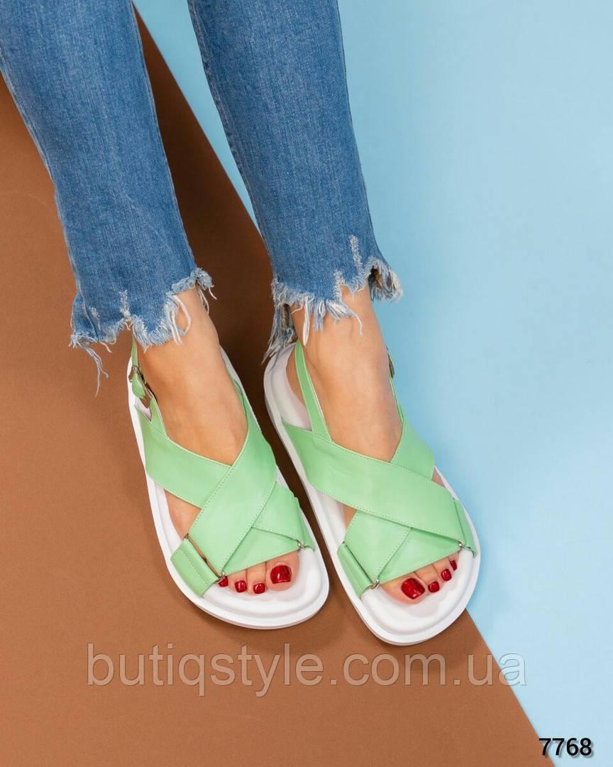 Женские сандалии мята натуральная кожа