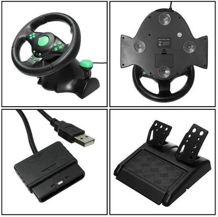 Игровой руль с педалями 3 в 1 Vibration Steering Wheel для PS3/PS2/PC | Универсальный руль для игр, фото 2