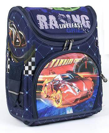 Школьный каркасный рюкзак для мальчиков машины Racing синий, фото 2