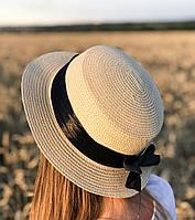 Летняя шляпа канотье с лентой