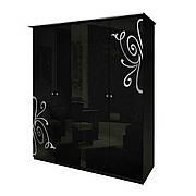 Шафа розпашній в спальню, в передпокій Богема 4Д BG-24-BL MiroMark чорний глянець (без дзеркал)