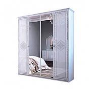 Шафа розпашній з дзеркалами в спальню, в передпокій Луїза 4Д LZ-14-WB MiroMark білий глянець