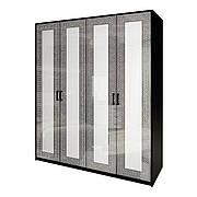 Шафа розпашній в спальню, в передпокій Віола 4Д VL-24-WB MiroMark білий/чорний (без дзеркал)