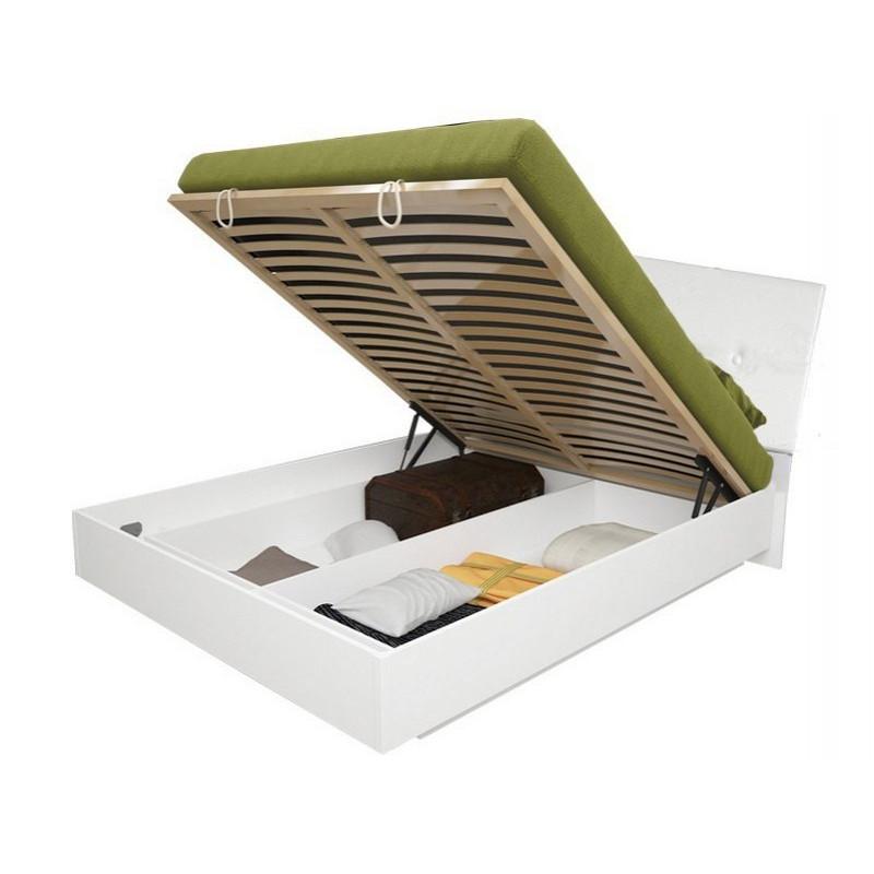 Кровать двуспальная с мягким изголовьем и подъемным механизмом Рома RM-49-WB MiroMark белый глянец
