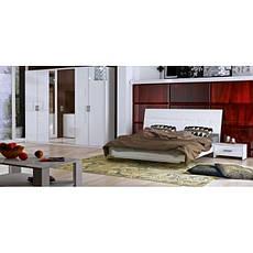 Кровать двуспальная с мягким изголовьем и подъемным механизмом Рома RM-49-WB MiroMark белый глянец, фото 3