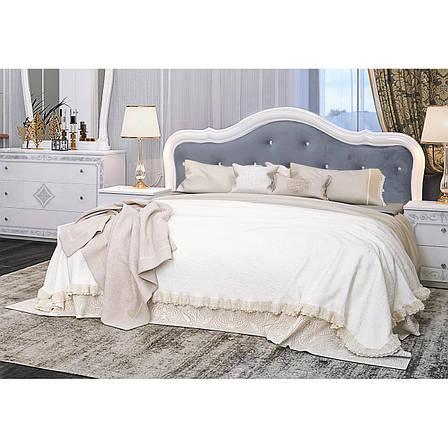 Кровать двуспальная с мягким изголовьем Луиза Люкс LZ-37-WB MiroMark белый глянец, фото 2