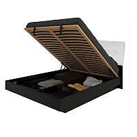 Кровать двуспальная с мягким изголовьем и подъемным механизмом Терра TR-47-WB MiroMark белый/черный