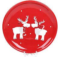 Тарелка керамическая красная Олени Ø 22 см