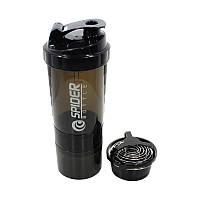 Бутылка для воды из трех слоев SPIDER HC801 Black объем 500ml спортивного питания с поилкой