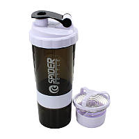 Бутылка для воды из трех слоев SPIDER HC801 Black + White объем 500ml спортивного питания с поилкой