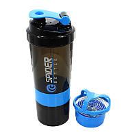 Бутылка для воды из трех слоев SPIDER HC801 Black + Blue объем 500ml спортивного питания с поилкой