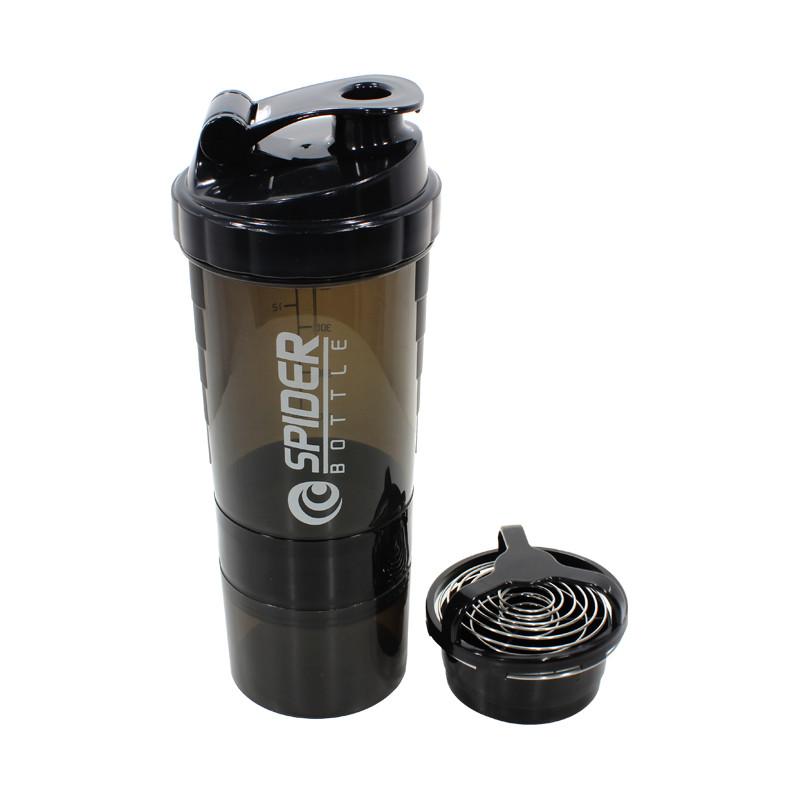 Бутылка для воды из трех слоев SPIDER HC801 Black объем 500ml спортивных коктейлей с поилкой