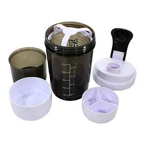 Бутылка для воды из трех слоев SPIDER HC801 Black + White объем 500ml спортивных коктейлей с поилкой, фото 2