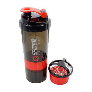 Бутылка для воды из трех слоев SPIDER HC801 Black + Red объем 500ml спортивных коктейлей с поилкой, фото 2