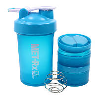 Спортивная бутылка трехслойная MET-Rx HC34 Blue с чашами пластиковая 450ml для воды спортивного питания