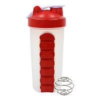 Бутылка-шейкер Lesko HC925 Red с отсеком под таблетки пружиной для воды спортивного питания коктейлей 600ml