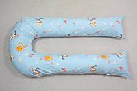 Наволочка на подушку для беременных и кормления U-340 ТМ БиоПодушка цвет - зайцы на голубом фоне