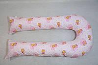 Наволочка на подушку для беременных и кормления U-340 ТМ БиоПодушка цвет розовые мишки