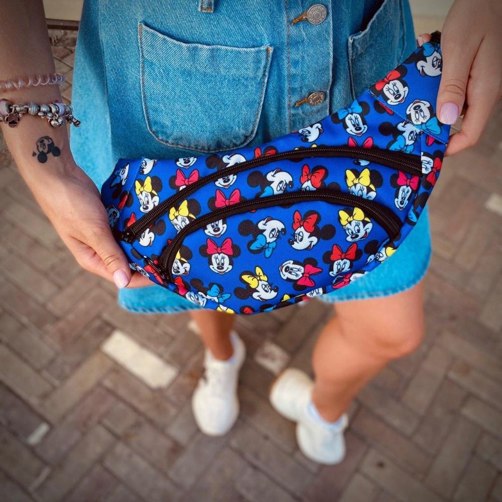 Бананка текстиль синяя принт Mickey Mouse